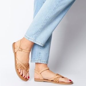 🆕 TOMS LEXIE SANDALS IN HONEY LEATHER NWT